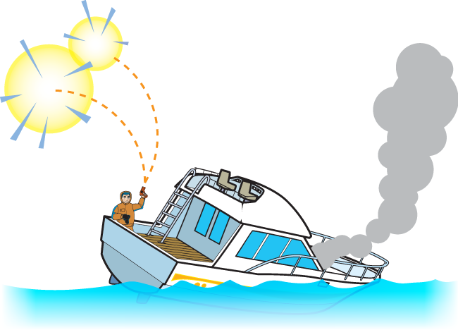 A visual distress signal is displayed on a damaged boat.