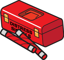 Red container marked with the words DISTRESS SIGNALS.