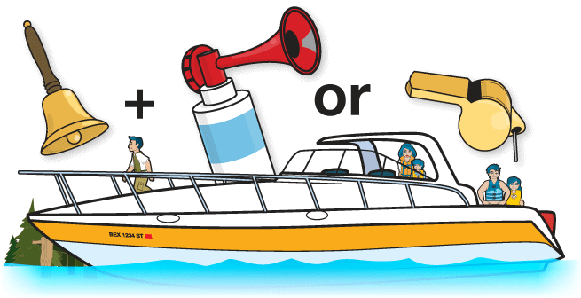 Bell plus an air horn or whistle with boat.