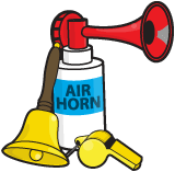 Air horn, whistle and bell.