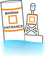 Non-lateral marker and a bouy labelled with MARINA ENTRANCE and an orange square.