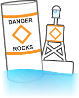 Non-lateral marker and a bouy labelled with DANGER ROCKS and an orange diamond.