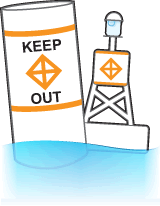 Non-lateral marker and a bouy labelled with KEEP OUT and an orange keep-out diamond.