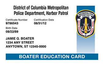 District of Columbia Boater Card