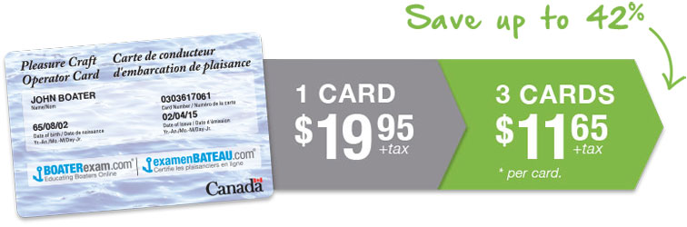 1 card $19.95 + tax, 3 cards $11.65 + tax which is a savings of up to 42%