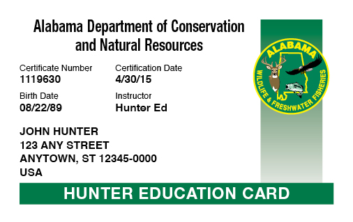 Alabama hunter education card