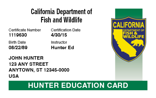 California hunter education card