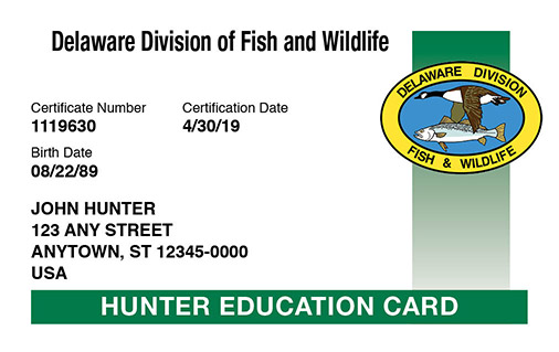 Delaware hunter education card