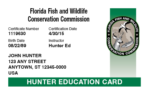 Florida hunter education card
