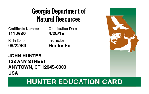 Georgia hunter education card