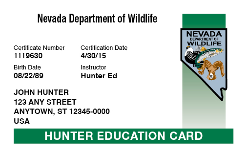 Nevada hunter education card