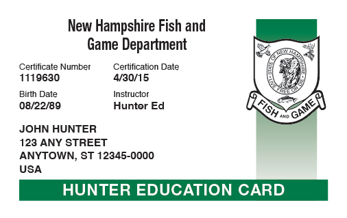 New Hampshire hunter education card