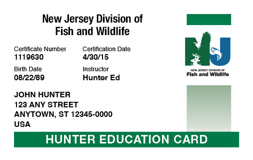 New Jersey hunter education card