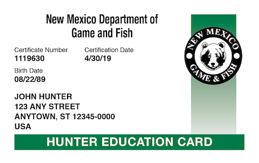 New Mexico hunter education card