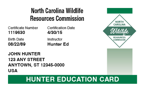 North Carolina hunter education card