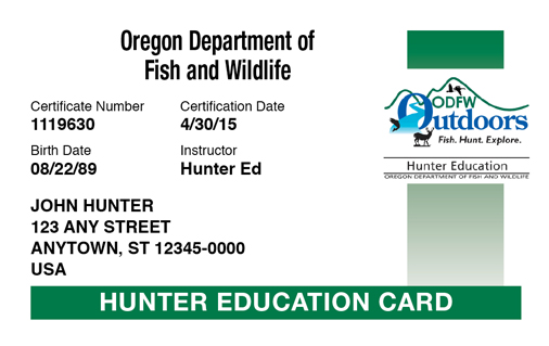 Oregon hunter education card