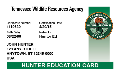 Tennessee hunter education card