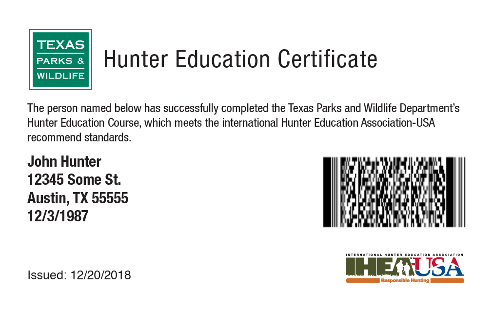 Texas hunter education card