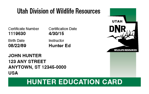 Utah hunter education card