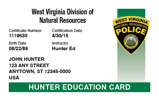 West Virginia hunter education card